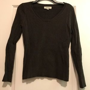 Chocolate brown ribbed sweater